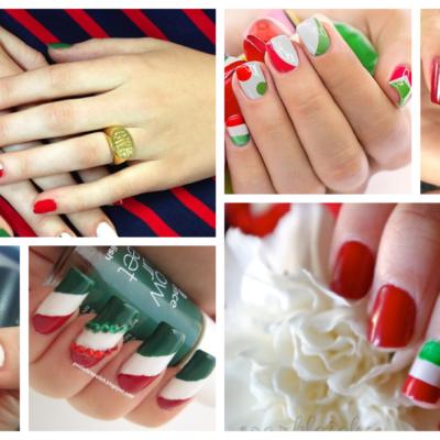 Uñas Tricolor Verde Blanco y Rojo Modernas y Elegantes