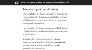 """""""Telesalud Glitzi, opción ante Covid-19"""" (elfinanciero.com.mx)"""