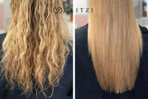 Tratamiento con keratina, comparación cabello enredado y liso